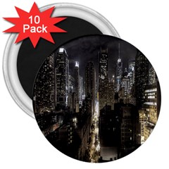 New York United States Of America Night Top View 3  Magnets (10 Pack)  by Simbadda
