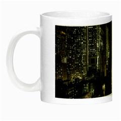 New York United States Of America Night Top View Night Luminous Mugs by Simbadda