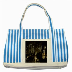 New York United States Of America Night Top View Striped Blue Tote Bag by Simbadda