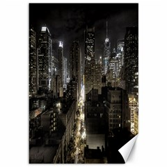 New York United States Of America Night Top View Canvas 12  X 18   by Simbadda