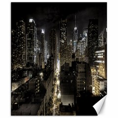New York United States Of America Night Top View Canvas 20  X 24   by Simbadda