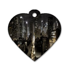 New York United States Of America Night Top View Dog Tag Heart (one Side) by Simbadda