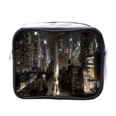 New York United States Of America Night Top View Mini Toiletries Bags by Simbadda