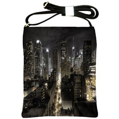 New York United States Of America Night Top View Shoulder Sling Bags by Simbadda