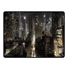 New York United States Of America Night Top View Fleece Blanket (small) by Simbadda