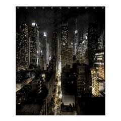 New York United States Of America Night Top View Shower Curtain 60  X 72  (medium)  by Simbadda