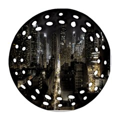 New York United States Of America Night Top View Ornament (round Filigree) by Simbadda