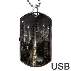 New York United States Of America Night Top View Dog Tag Usb Flash (one Side) by Simbadda