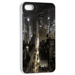 New York United States Of America Night Top View Apple Iphone 4/4s Seamless Case (white) by Simbadda