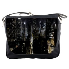 New York United States Of America Night Top View Messenger Bags by Simbadda
