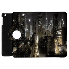 New York United States Of America Night Top View Apple Ipad Mini Flip 360 Case by Simbadda