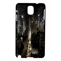 New York United States Of America Night Top View Samsung Galaxy Note 3 N9005 Hardshell Case by Simbadda