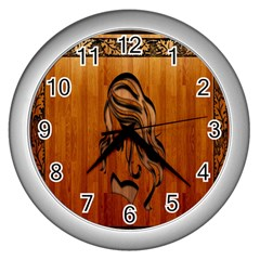 Pattern Shape Wood Background Texture Wall Clocks (silver)  by Simbadda
