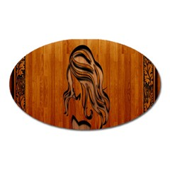 Pattern Shape Wood Background Texture Oval Magnet by Simbadda