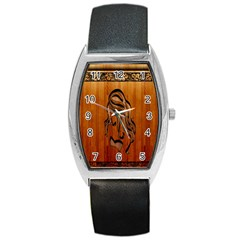 Pattern Shape Wood Background Texture Barrel Style Metal Watch by Simbadda