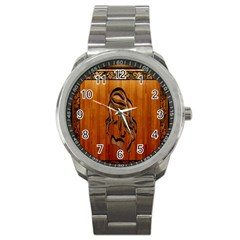 Pattern Shape Wood Background Texture Sport Metal Watch by Simbadda
