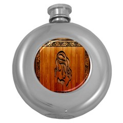 Pattern Shape Wood Background Texture Round Hip Flask (5 Oz)