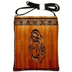 Pattern Shape Wood Background Texture Shoulder Sling Bags by Simbadda