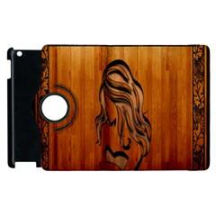 Pattern Shape Wood Background Texture Apple Ipad 3/4 Flip 360 Case by Simbadda
