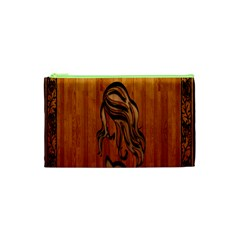 Pattern Shape Wood Background Texture Cosmetic Bag (xs) by Simbadda