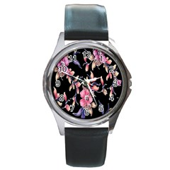 Neon Flowers Black Background Round Metal Watch by Simbadda
