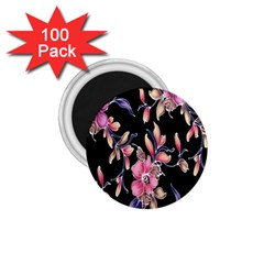 Neon Flowers Black Background 1 75  Magnets (100 Pack)  by Simbadda