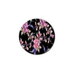 Neon Flowers Black Background Golf Ball Marker by Simbadda