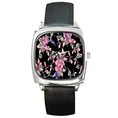 Neon Flowers Black Background Square Metal Watch by Simbadda