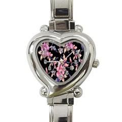 Neon Flowers Black Background Heart Italian Charm Watch by Simbadda