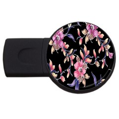 Neon Flowers Black Background Usb Flash Drive Round (4 Gb) by Simbadda