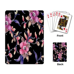 Neon Flowers Black Background Playing Card by Simbadda