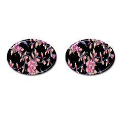 Neon Flowers Black Background Cufflinks (oval) by Simbadda