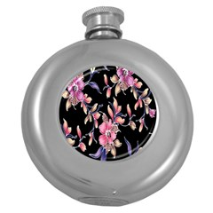 Neon Flowers Black Background Round Hip Flask (5 Oz) by Simbadda