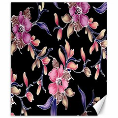 Neon Flowers Black Background Canvas 20  X 24   by Simbadda