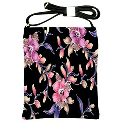 Neon Flowers Black Background Shoulder Sling Bags by Simbadda