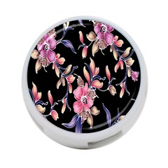 Neon Flowers Black Background 4 Port Usb Hub (one Side) by Simbadda
