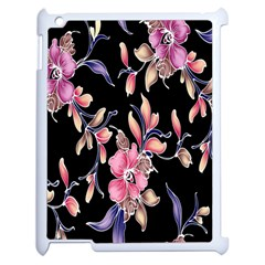 Neon Flowers Black Background Apple Ipad 2 Case (white) by Simbadda