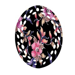 Neon Flowers Black Background Oval Filigree Ornament (two Sides) by Simbadda