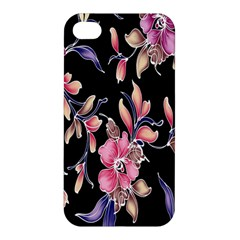 Neon Flowers Black Background Apple Iphone 4/4s Hardshell Case by Simbadda