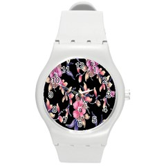 Neon Flowers Black Background Round Plastic Sport Watch (m) by Simbadda