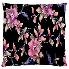 Neon Flowers Black Background Large Cushion Case (two Sides) by Simbadda