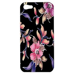 Neon Flowers Black Background Apple Iphone 5 Hardshell Case by Simbadda