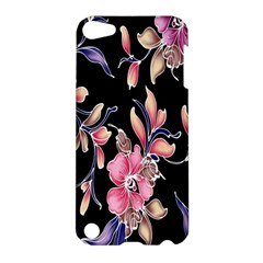 Neon Flowers Black Background Apple Ipod Touch 5 Hardshell Case by Simbadda
