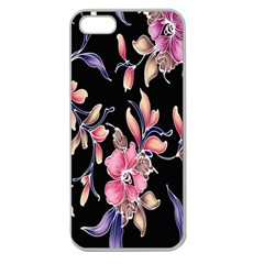 Neon Flowers Black Background Apple Seamless Iphone 5 Case (clear) by Simbadda