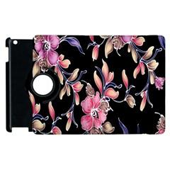 Neon Flowers Black Background Apple Ipad 2 Flip 360 Case by Simbadda