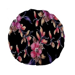 Neon Flowers Black Background Standard 15  Premium Round Cushions by Simbadda