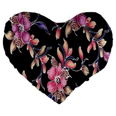 Neon Flowers Black Background Large 19  Premium Heart Shape Cushions by Simbadda