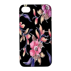 Neon Flowers Black Background Apple Iphone 4/4s Hardshell Case With Stand by Simbadda
