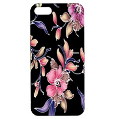 Neon Flowers Black Background Apple Iphone 5 Hardshell Case With Stand by Simbadda