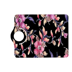 Neon Flowers Black Background Kindle Fire Hd (2013) Flip 360 Case by Simbadda
